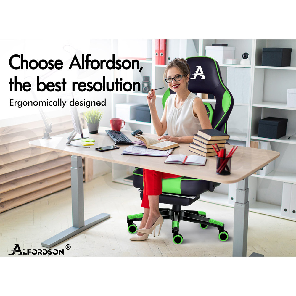 ALFORDSON-Gaming-Office-Chair-Racing-Executive-Footrest-Computer-Seat-PU-Leather thumbnail 46