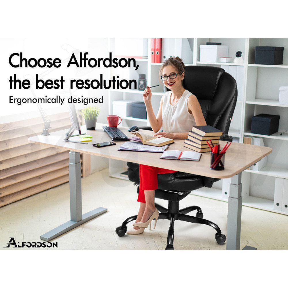 ALFORDSON-Gaming-Office-Chair-Racing-Executive-Footrest-Computer-Seat-PU-Leather thumbnail 167