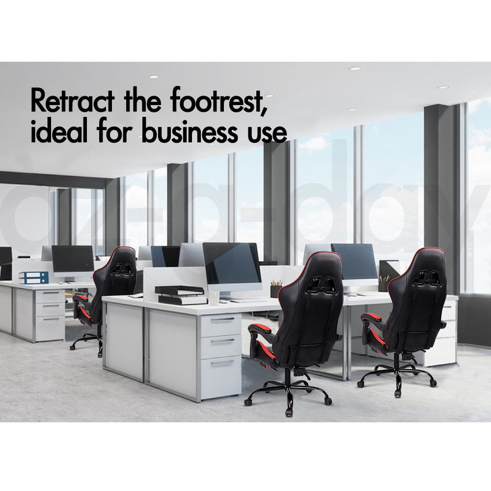 ALFORDSON-Gaming-Office-Chair-Racing-Executive-Footrest-Computer-Seat-PU-Leather thumbnail 242