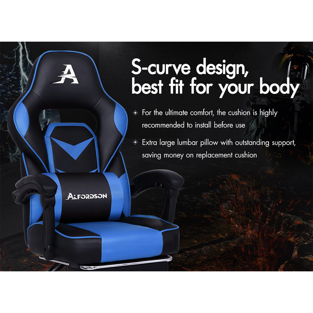 ALFORDSON-Gaming-Office-Chair-Racing-Executive-Footrest-Computer-Seat-PU-Leather thumbnail 25