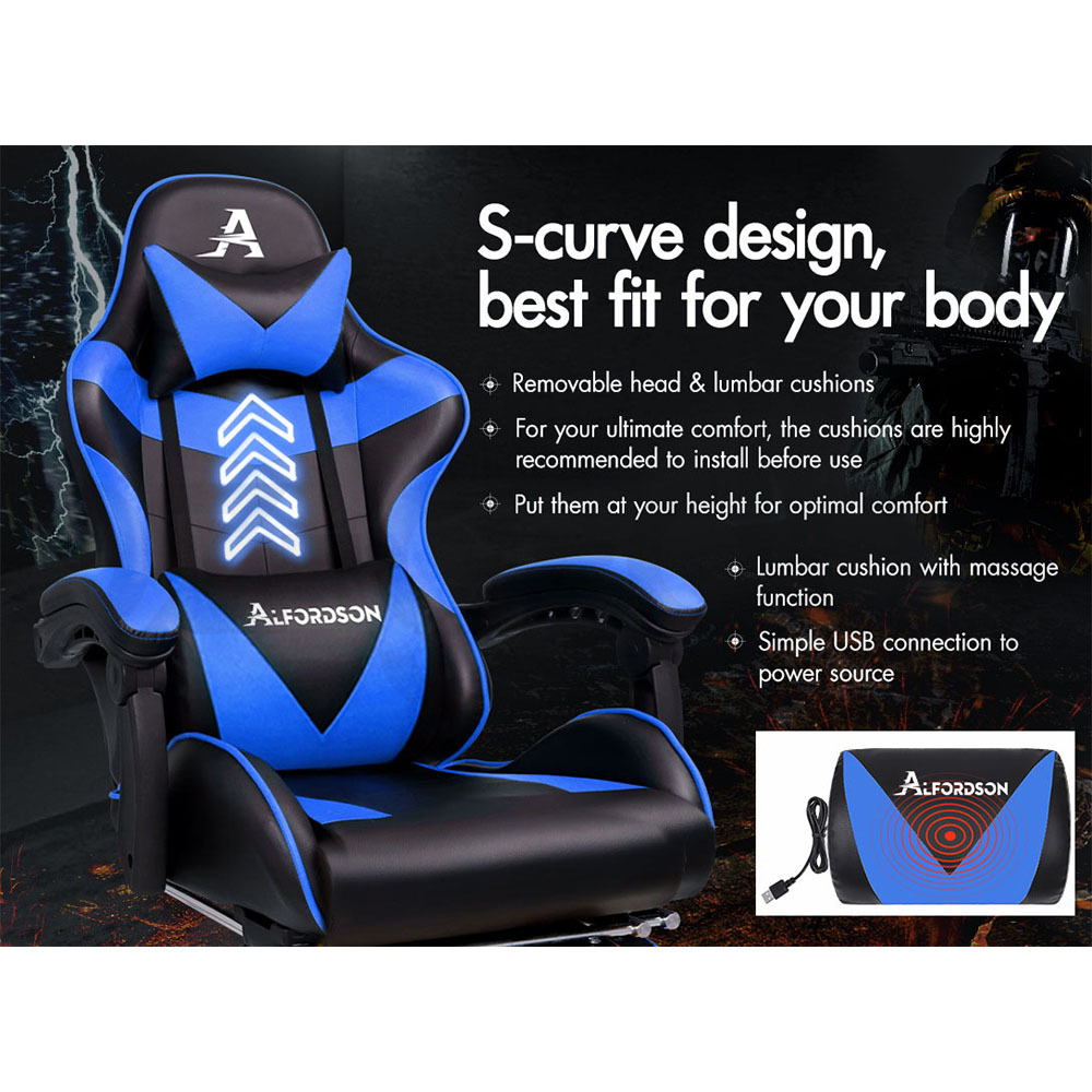 ALFORDSON-Gaming-Office-Chair-Racing-Executive-Footrest-Computer-Seat-PU-Leather thumbnail 91