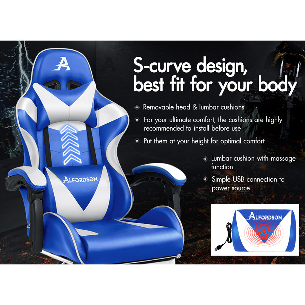 ALFORDSON-Gaming-Office-Chair-Racing-Executive-Footrest-Computer-Seat-PU-Leather thumbnail 69