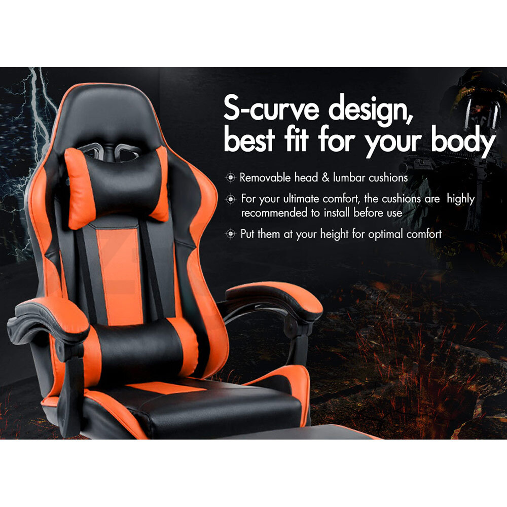ALFORDSON-Gaming-Office-Chair-Racing-Executive-Footrest-Computer-Seat-PU-Leather thumbnail 311