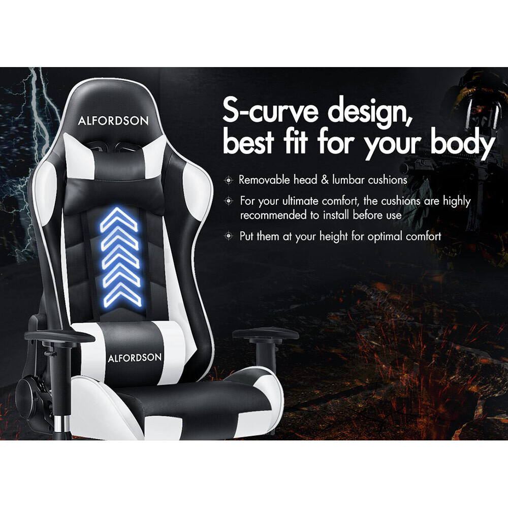 ALFORDSON-Gaming-Office-Chair-Racing-Executive-Footrest-Computer-Seat-PU-Leather thumbnail 410