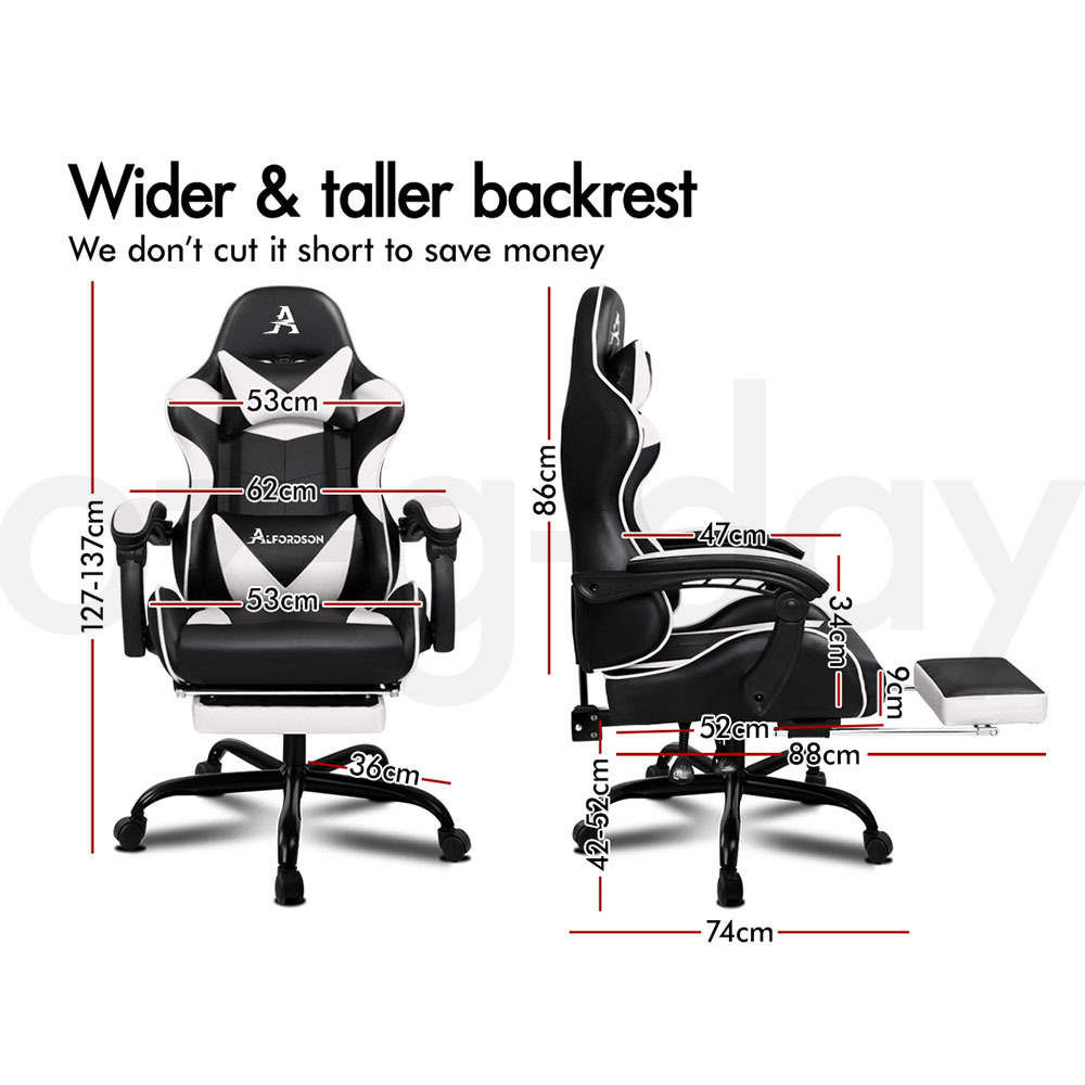 ALFORDSON-Gaming-Office-Chair-Racing-Executive-Footrest-Computer-Seat-PU-Leather thumbnail 182