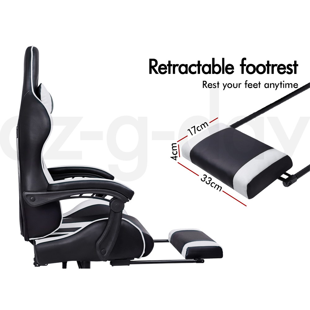 ALFORDSON-Gaming-Office-Chair-Racing-Executive-Footrest-Computer-Seat-PU-Leather thumbnail 340